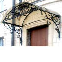 Металлический козырек над входом с ковкой, арт.: КО-28