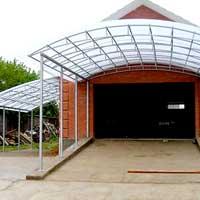 Навесная крыша из поликарбоната перед гаражом, арт.: НА-13