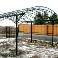 Кованый навес с коваными воротами для автомобиля, арт.: НА-18